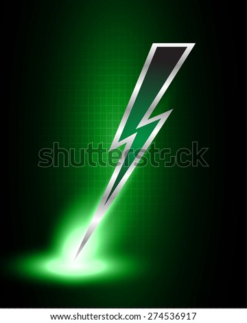 Illustration Sparkling Dark Red Lightning Bolt Stock #2: stock vector illustration of sparkling dark green lightning bolt with electric effect