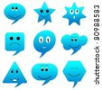 illustration of speech bubble with different emotion - stock vector
