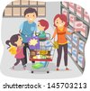 Illustration of Stickman Family Shopping in a Grocery Store - stock vector