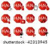 Illustration of stop h1n1 icons - stock