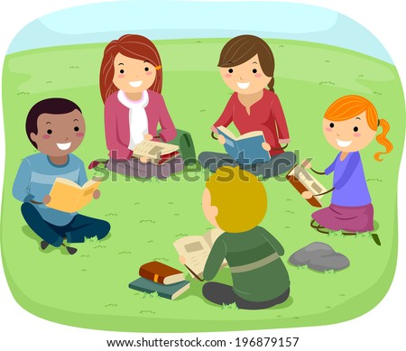 Illustration of Teenagers Reading Books in the Park
