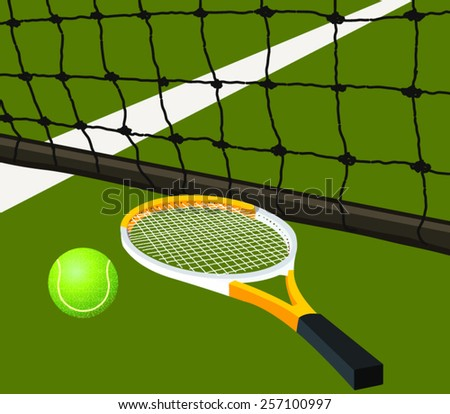 Illustration of tennis racket and ball on tennis court