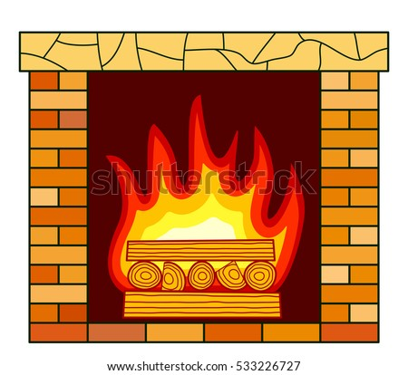 brick fireplace clipart. illustration of the brick fireplace icon clipart