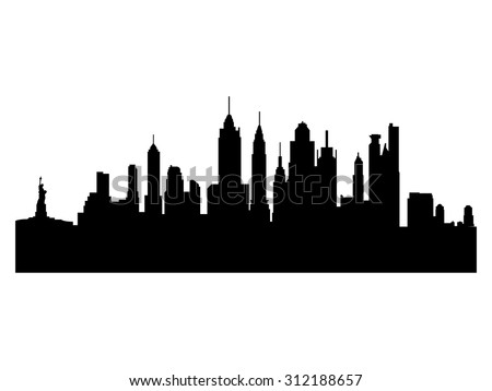 Illustration of the city skyline silhouette - New York