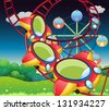 Illustration of the colorful roller coaster - stock vector