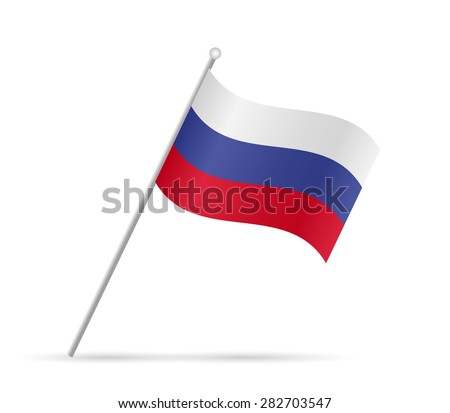 Illustration of the flag of Russia isolated on a white background.