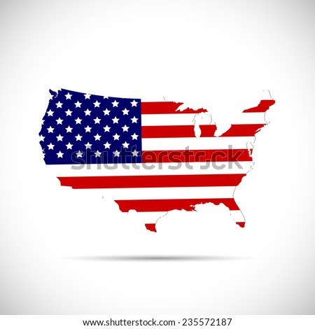 Illustration of the flag of the United States of America on a map isolated on a white background.