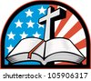 Illustration of the holy bible with cross and American flag stars and stripes. - stock vector