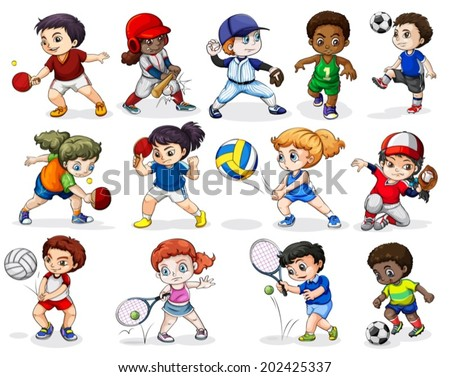Illustration of the kids engaging in different sports activities on a white background