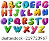 Illustration of the letters of the alphabet on a white background  - stock