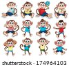 Illustration of the monkeys with different emotions on a white background - stock vector