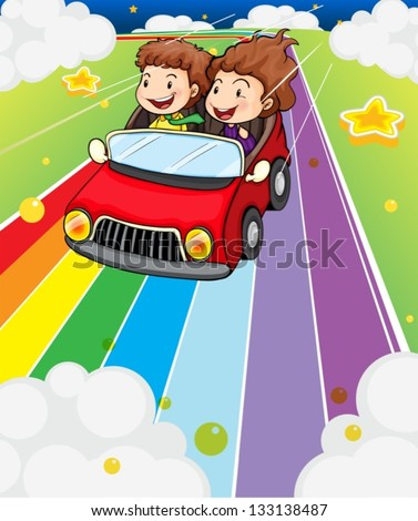 Illustration of the two kids riding in a red car