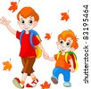 Illustration of two  boys go to school - stock photo