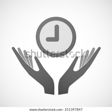 Illustration of two hands offering a clock