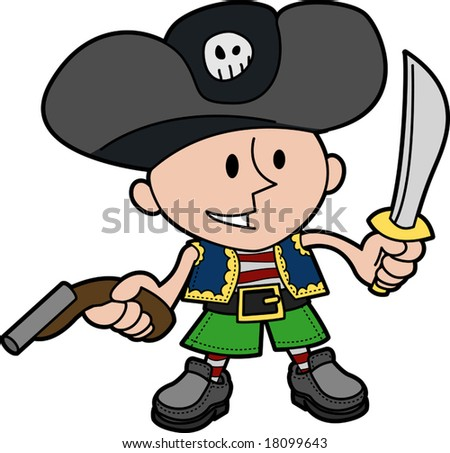 Illustration of young boy in pirate costume with knife and gun