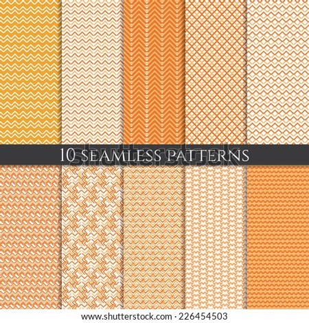 Illustration set of abstract geometric seamless patterns. Vector