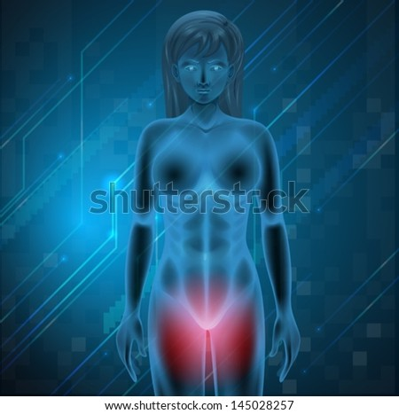 Illustration showing menstrual pain