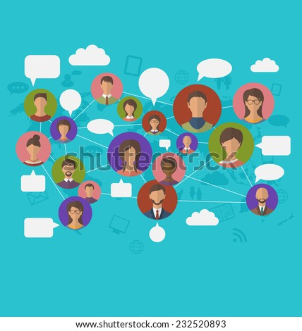 Illustration social connection on world map with people icons - vector
