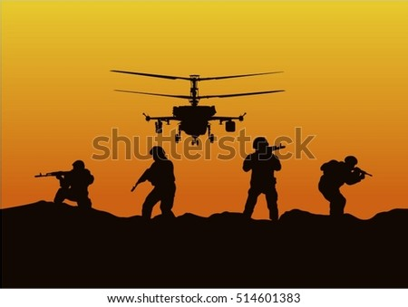 Illustration, the soldiers going to attack and helicopters.