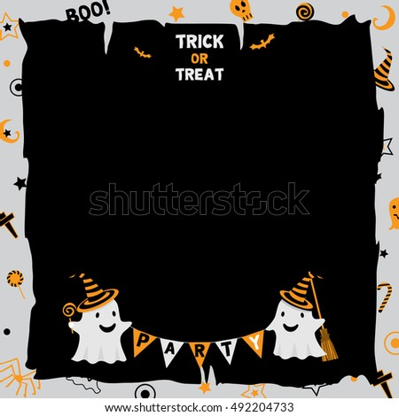 Illustration vector of happy halloween and trick or treat  background party template with little cute ghost.