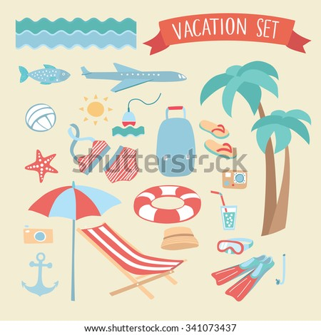 Illustration vector set  of vacation and beach elements for design