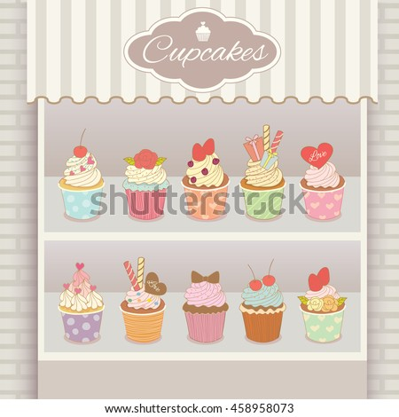 Illustration vector various cupcakes menu display on shelf in showcase of white cafe shop.