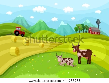 illustration with a farm landscape