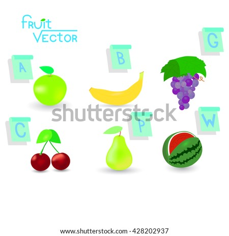 Illustration with a set of various fruits and signs of the first letters of the names of fruits