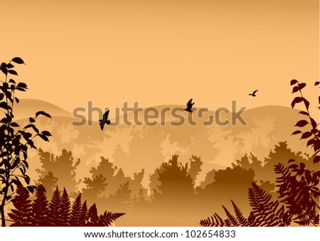 illustration with brown forest and birds in sky