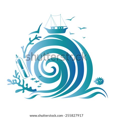 Illustration with sea treasures and big wave