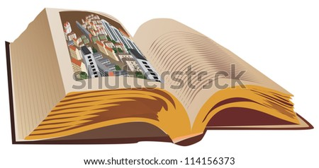 illustration with single open book isolated on white background