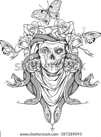 Black White Deer Skull Horns Graphic Stock Vector