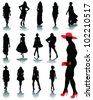 Illustrations of fashion, silhouettes and shadows 2-vector - stock vector