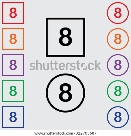 Illustrations of Multiple Coloured Square and Round Icons Isolated on a Grey Background - 8