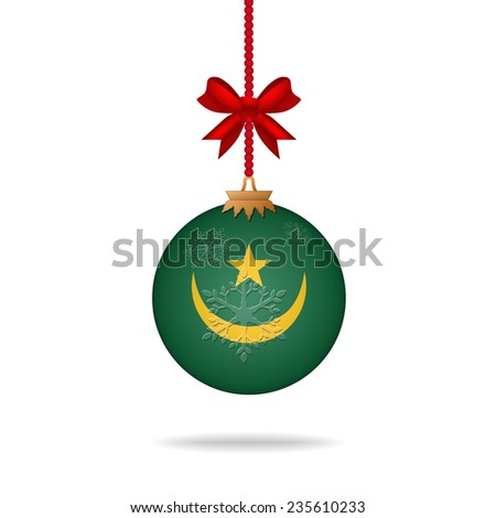 Ilustration christmas ball flag Mauritania