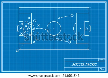 image of a corner kick on blueprint. Transparency used.