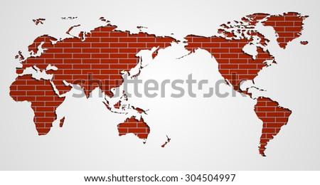 Image Flat World Map On Brick Stock Vector Shutterstock - World map flat