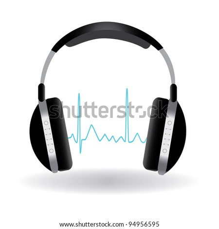 Image of headphones with sound wave isolated on a white background.
