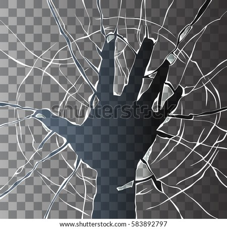 Image of the broken glass in the shape of a hand.Broken transparent glass.