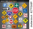 Image of various road signs against a metallic background. - stock vector