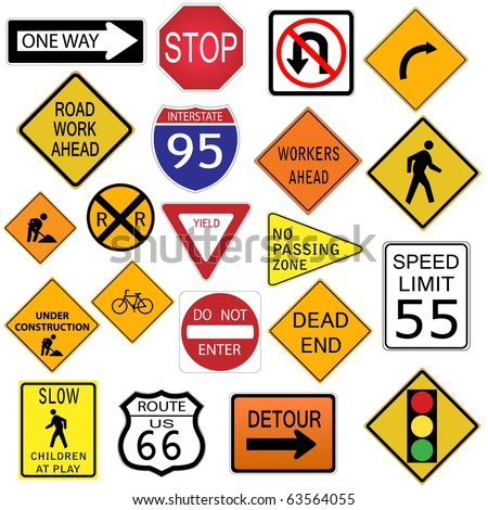Image Various Road Signs Isolated On Stock Vector 83163988 ...