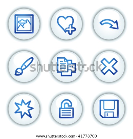 Image viever web icons set 2, white circle buttons series