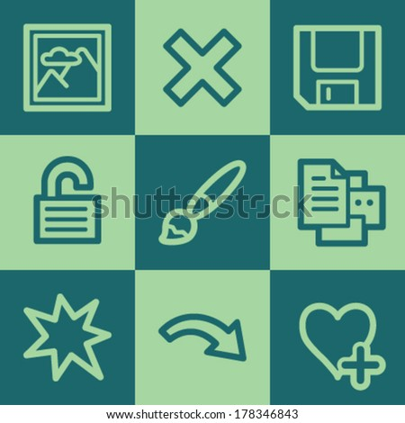 Image viewer web icon set 2, green square buttons set