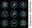 Image viewer web icons, neon contour series - stock photo