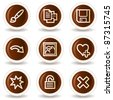 Image viewer web icons set 2, chocolate buttons - stock vector