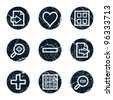 Image viewer web icons set 1, grunge circle buttons - stock vector
