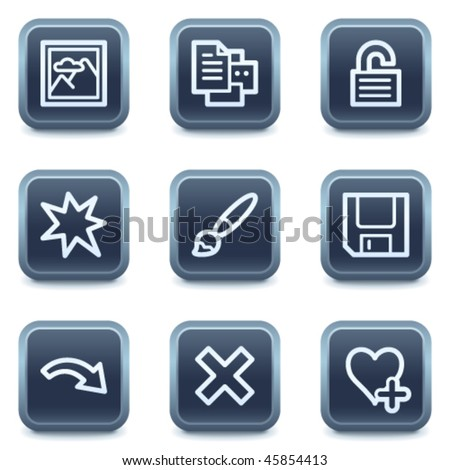 Image viewer web icons set 2, mineral square buttons series