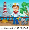 Image with sailor theme 2 - eps10 vector illustration. - stock