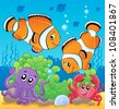 Image with undersea theme 4 - vector illustration. - stock photo