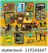 Images of the characters that belong to the era of the wild west. - stock vector